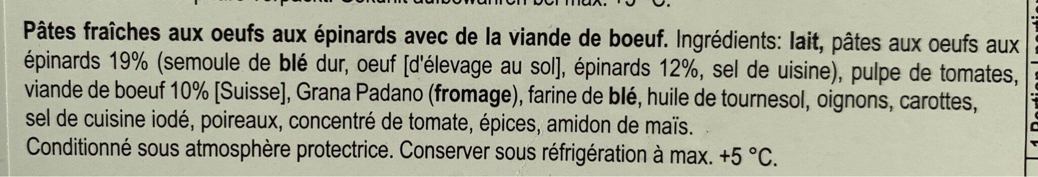Lasagne frais au boeuf CH - Ingrédients - fr