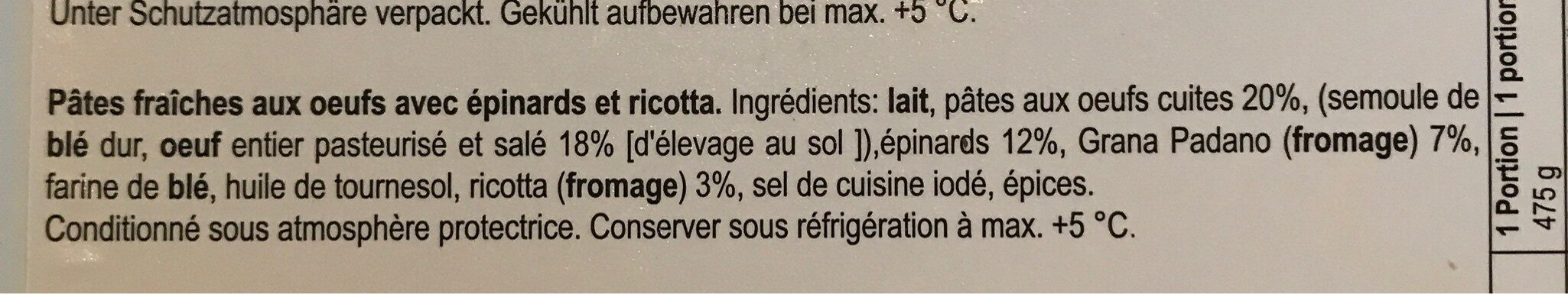 Lasagne frais épinards et ricotta - Inhaltsstoffe - fr