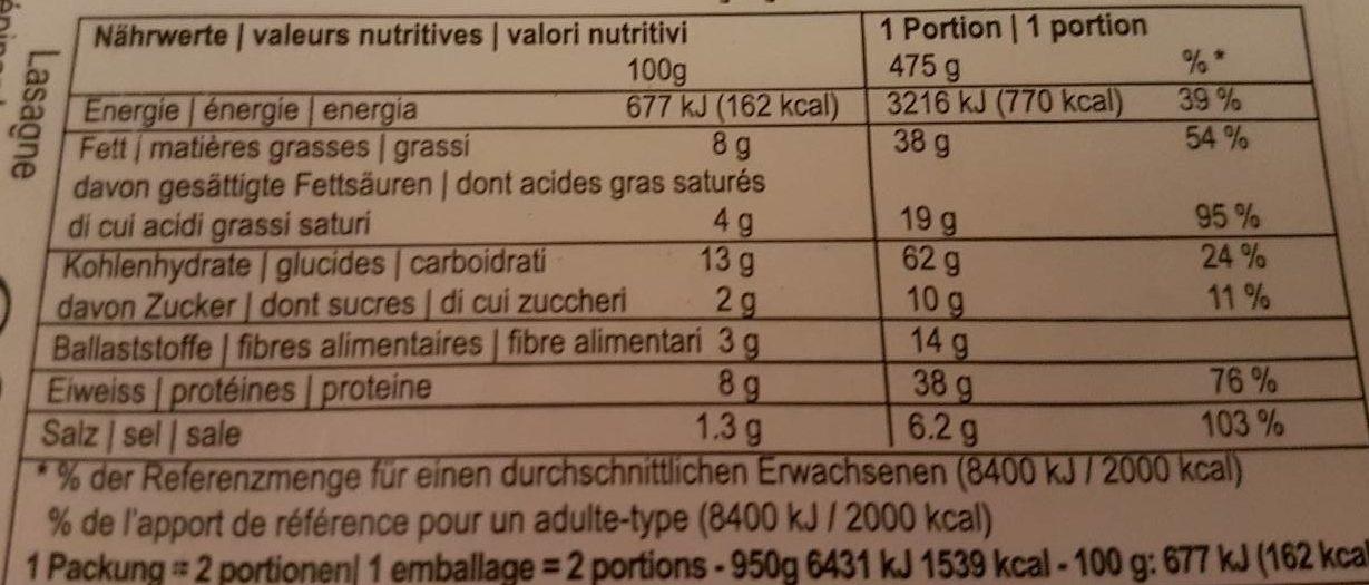 Lasagne frais épinards et ricotta - Nährwertangaben - fr