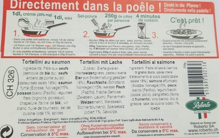 Tortellini frais au saumon - Ingrediënten - fr