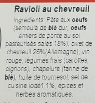 Ravioli frais au chevreuil - Ingrédients
