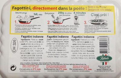 Fagottini India à  la viande de poulet CH - Ingrédients - fr