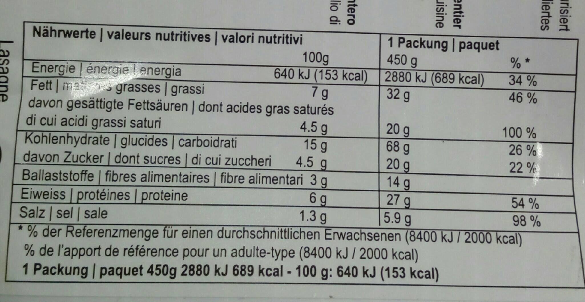 Lasagne Roberto - Valori nutrizionali - fr