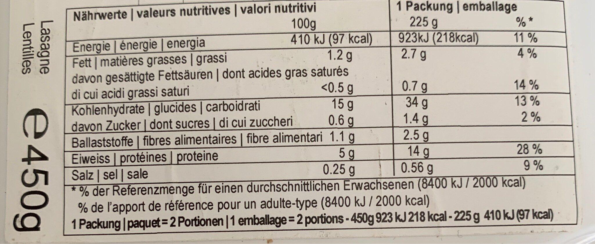 Lasagne frais lentilles corail (Végan,CH) - Informations nutritionnelles - fr