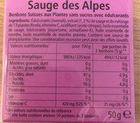 Ricolas Sauge des Alpes - Informations nutritionnelles - fr