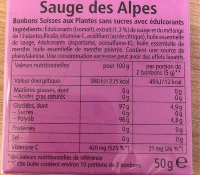 Ricolas Sauge des Alpes - Informations nutritionnelles