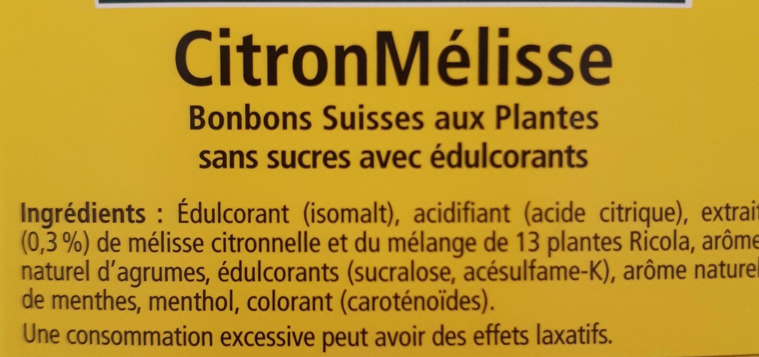 Bonbon citron mélisse - Ingredients - fr