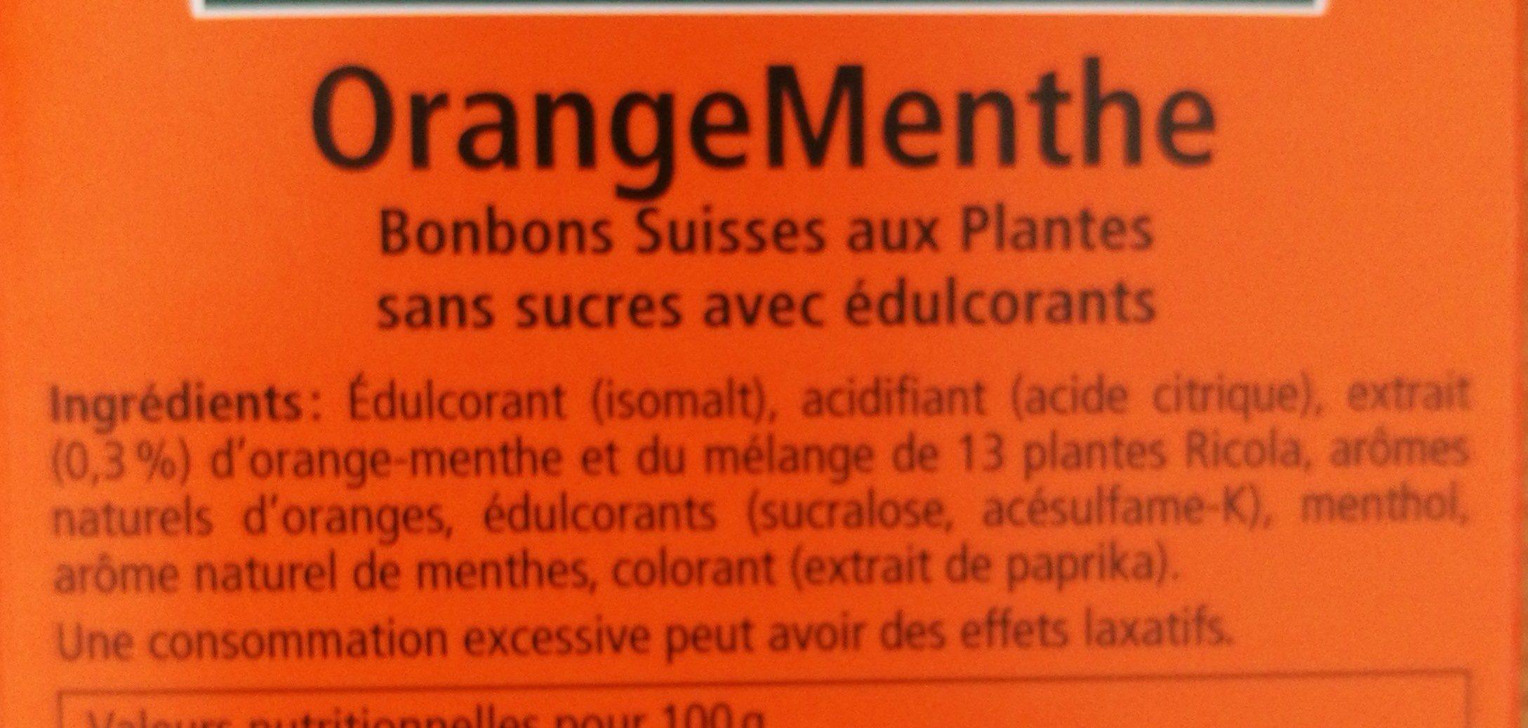 Orange Menthe sans sucres avec édulcorant provenant de la stévia - Ingredients - fr