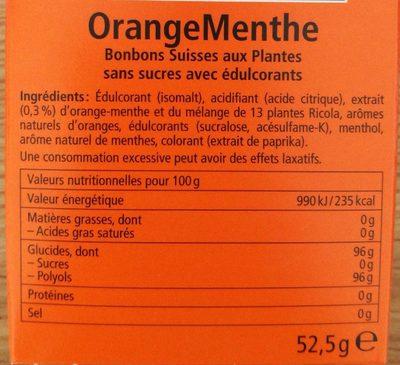 Orange Menthe sans sucres avec édulcorant provenant de la stévia - Nutrition facts - fr