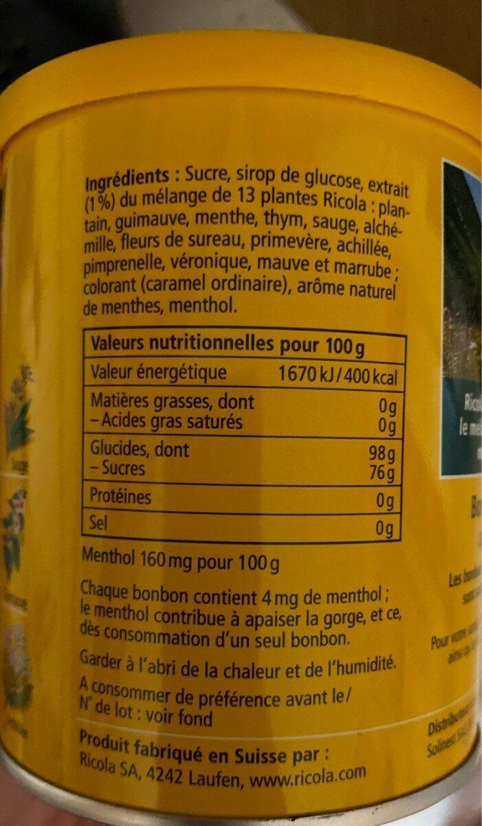 Bonbon aux plantes - Voedingswaarden - de