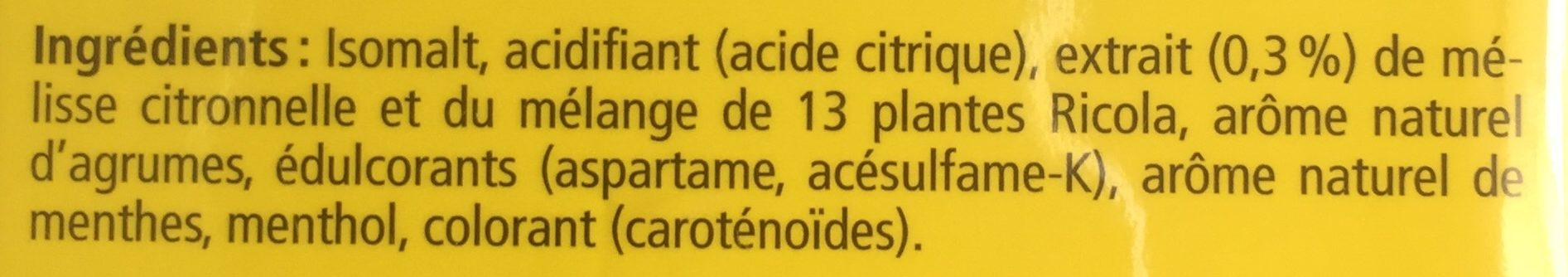 Ricola citron melisse - Ingredients