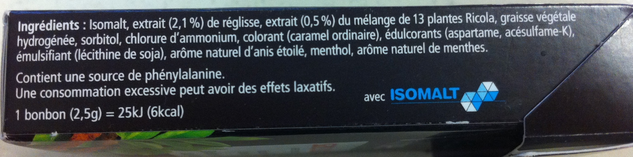 Ricola Réglisse sans sucres - Ingrediënten - fr
