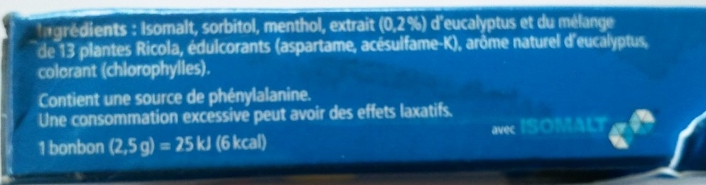 Ricola Menthol Extra-frais - Ingredients - fr