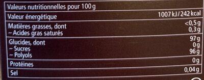 Ricola Réglisse - Nutrition facts - fr