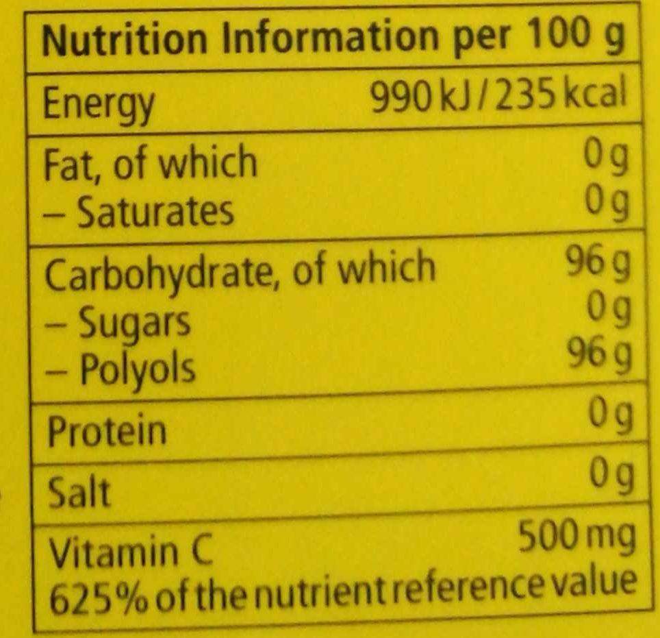 Refreshing LemonMint - Nutrition facts
