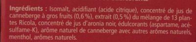 Ricola Cranberry Bonbons suisses aux plantes - Ingredientes