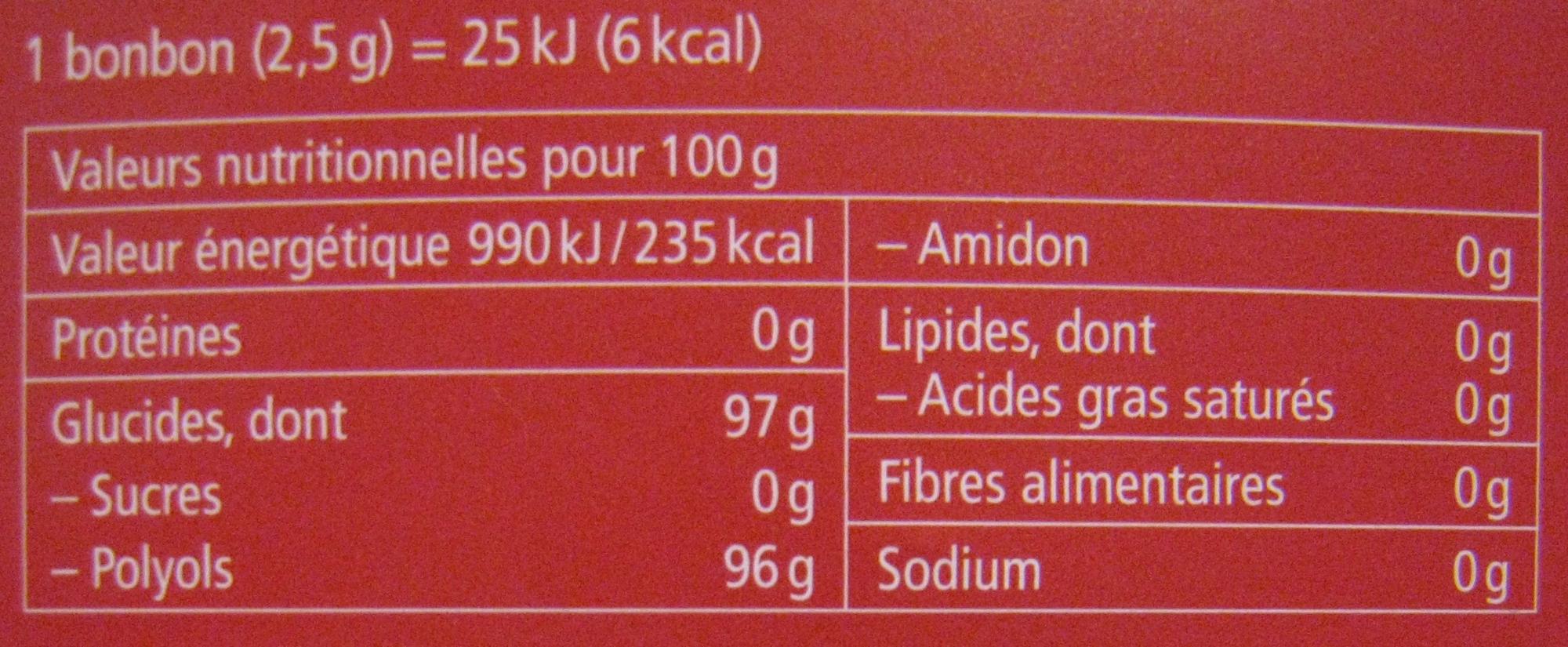 Ricola Cranberry Bonbons suisses aux plantes - Informação nutricional