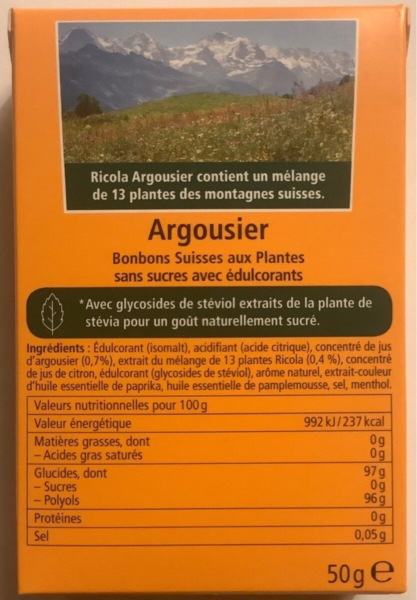 ricola argousier - Informations nutritionnelles - fr
