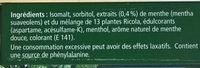 Ricola Menthe des Montagnes - Ingrediënten - fr