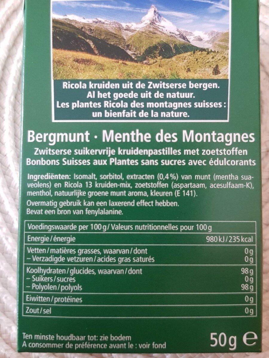 Ricola Menthe des Montagnes - Informations nutritionnelles - fr