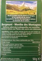Ricola Menthe des Montagnes - Voedingswaarden - fr