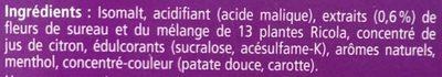 Bonbons Fleurs de sureau - Ingredients