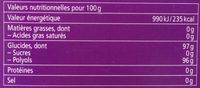 Bonbons Fleurs de sureau - Nutrition facts