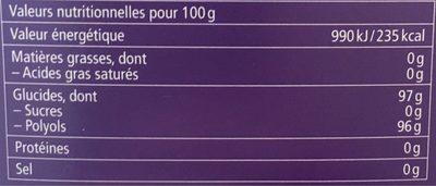 Bonbons Fleurs de sureau - Informations nutritionnelles