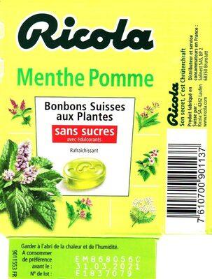 Bonbons Suisses aux plantes sans sucre Menthe Pomme - Produit