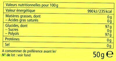 Bonbons Suisses aux plantes sans sucre Menthe Pomme - Informations nutritionnelles