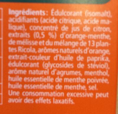 Orange Menthe sans sucres avec édulcorant provenant de la stévia - Ingrediënten