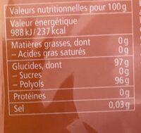 Bonbons orange/menthe sans sucres - Nutrition facts