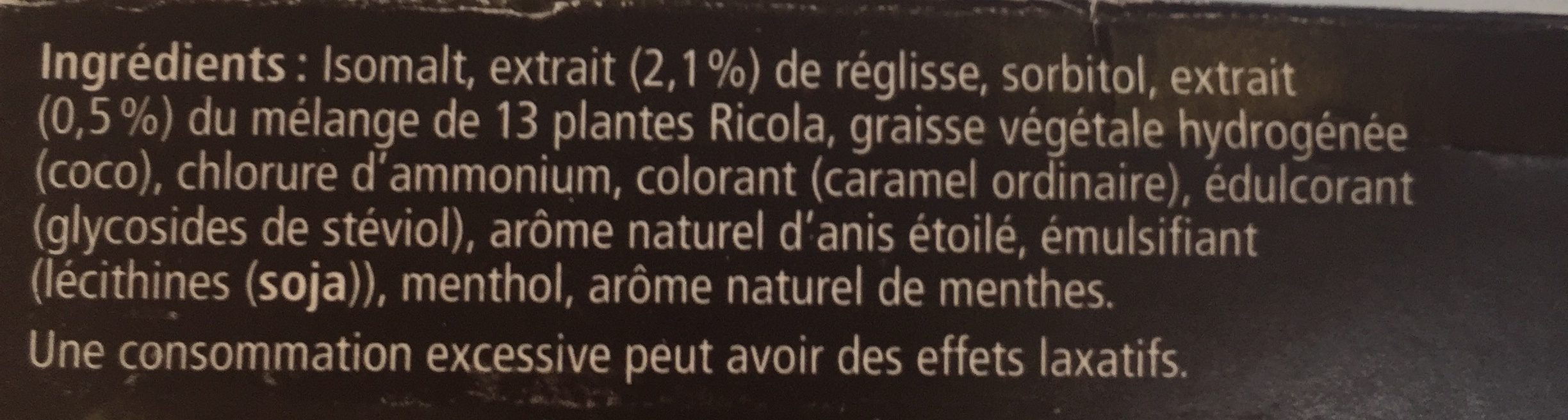 Ricola Zoethout SV In Box 50G - Ingrédients - fr