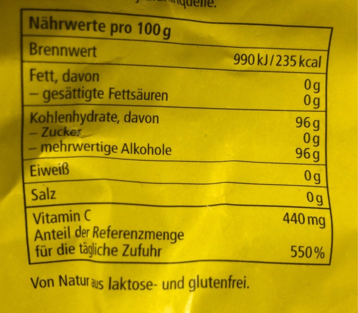 Ricola Zitronenmelisse - Nährwertangaben - de