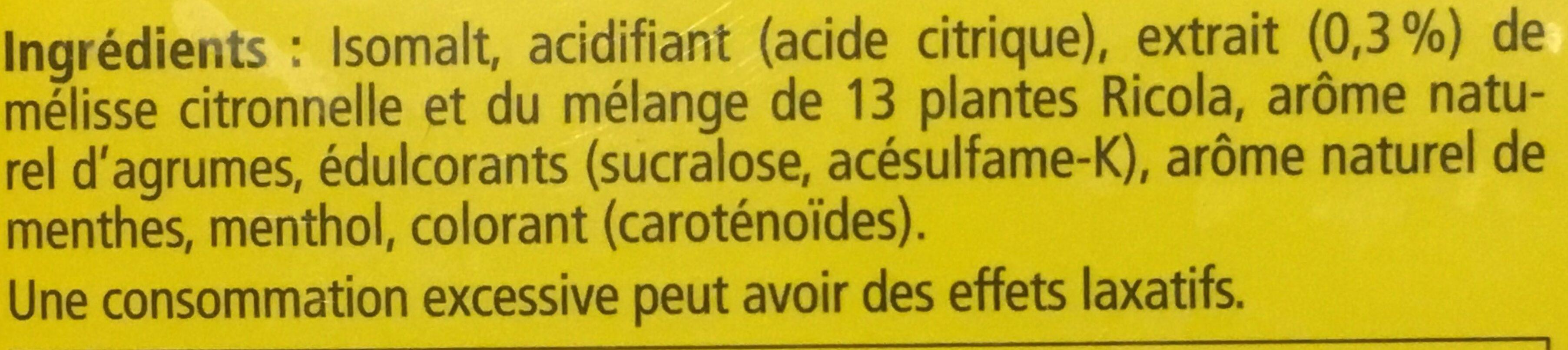 aux Plantes Citron - Mélisse - Ingrédients - fr