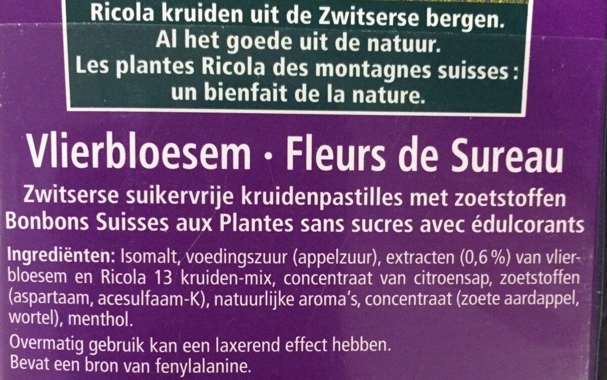 Bonbons Fleurs de sureau - 成分 - nl