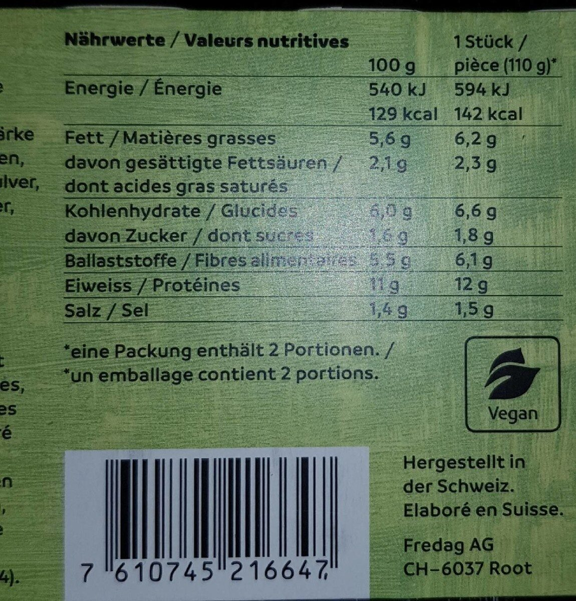HappyVegi Burger - Informazioni nutrizionali - fr