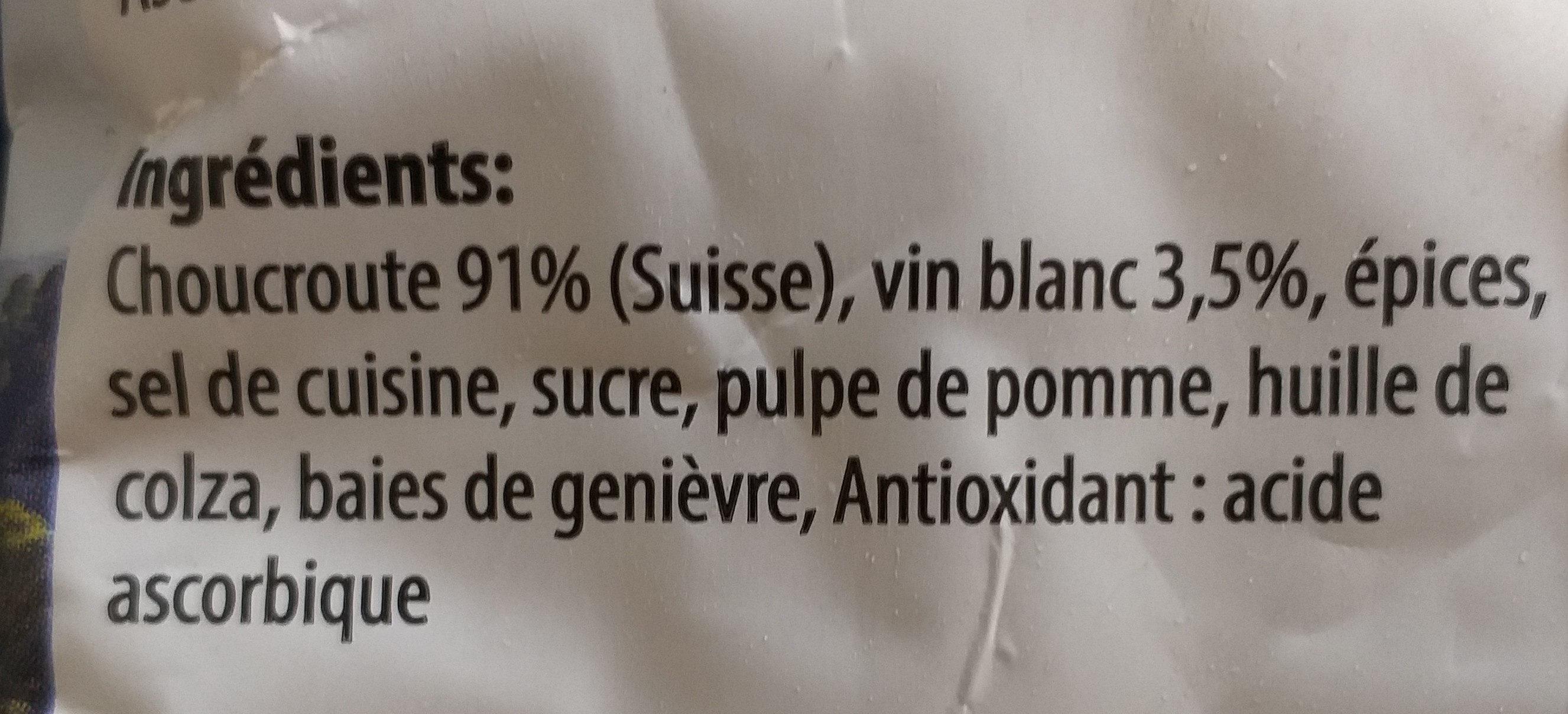 Wein-Sauerkraut / Choucroutte au vin - Ingredients