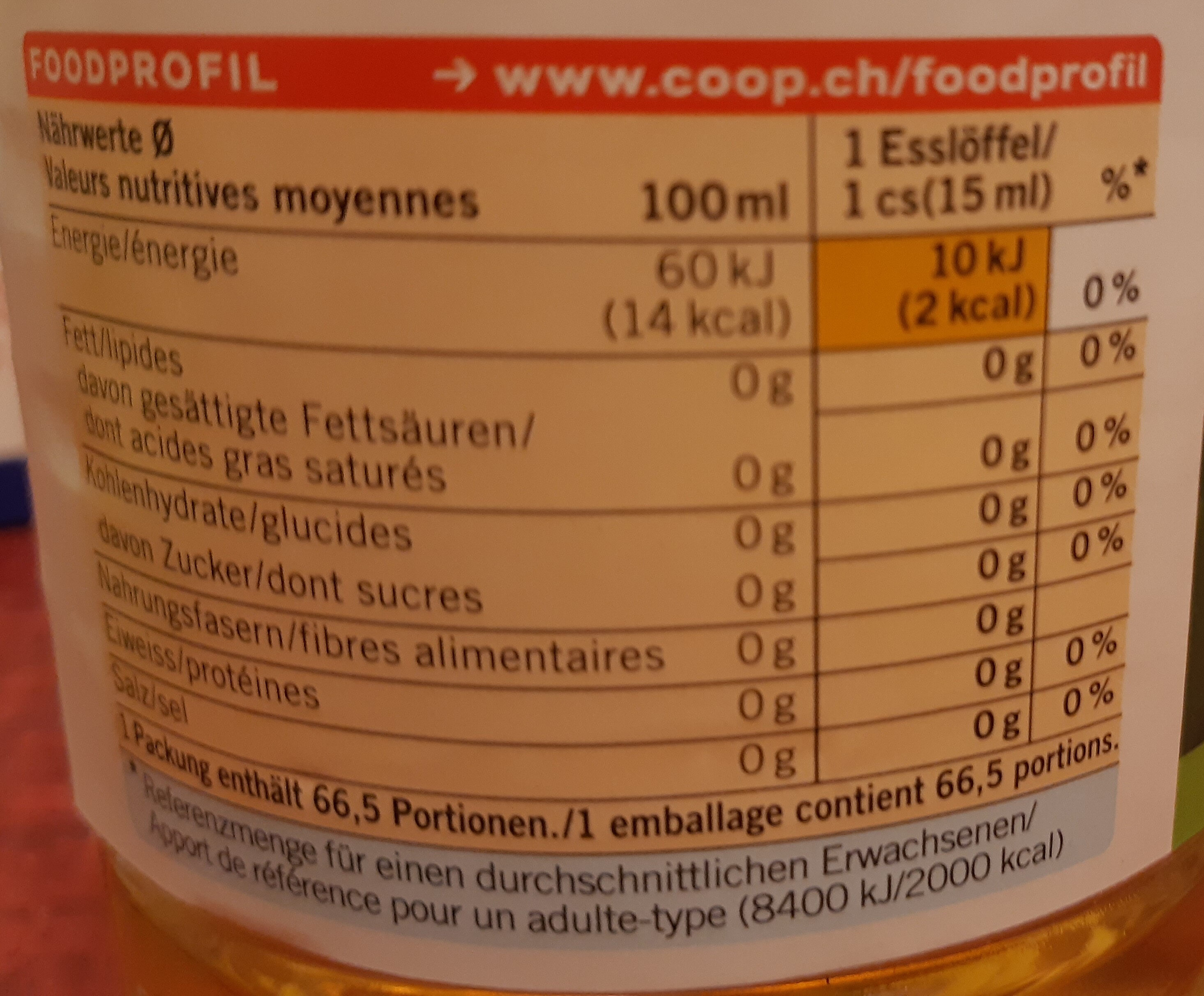 Weisswinessig - Nutrition facts - de
