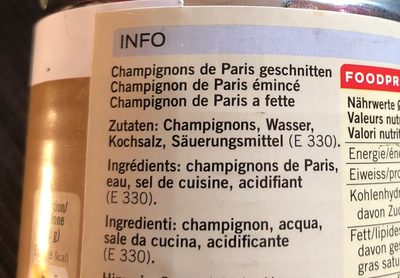 Chanpignons de paris émincés - Ingredients - fr