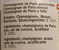 Chanpignons de paris émincés - Nutrition facts - fr