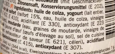 Raifort Sauce - Ingredients - fr