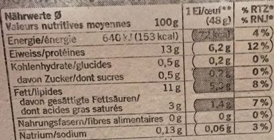 6 oeufs suisses - Nutrition facts