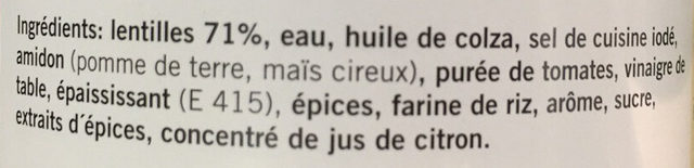 Lentilles en sauce - Ingrediënten - fr