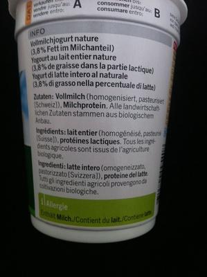 Jogurt al naturale - Ingrédients - fr
