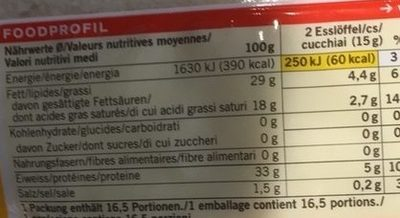 Grana Padano râpé - Valori nutrizionali - fr