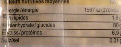 Pain d'épice - Valori nutrizionali - fr
