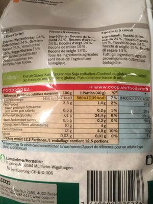 Florins 5 céréales - Informations nutritionnelles