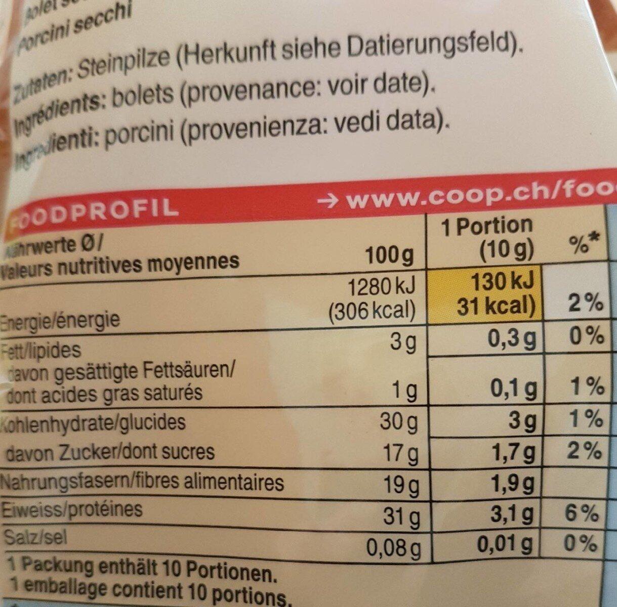 Bolets séchés - Informazioni nutrizionali - fr
