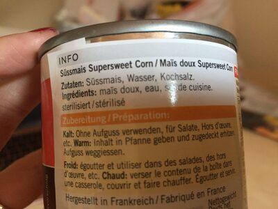 Süssmais - Ingredients - en